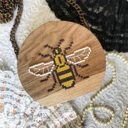 Sac à main en bois -abeille--Semha