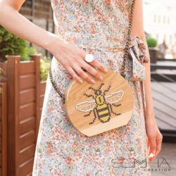 Sac à main en bois -abeille