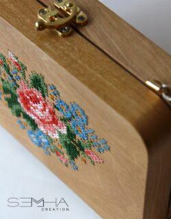 Sac à main en bois - carré florale – Semha