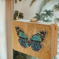 Sac à main en bois -papillon - nouvelle collection 2020