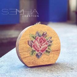 Sac à main en bois - rond-florale – Semha